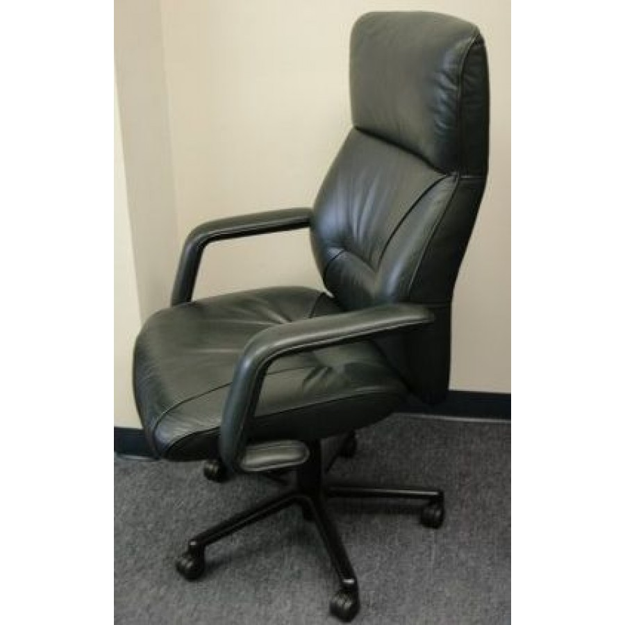 Keilhauer Highbacked Conference Chair in Dark Teal Leather