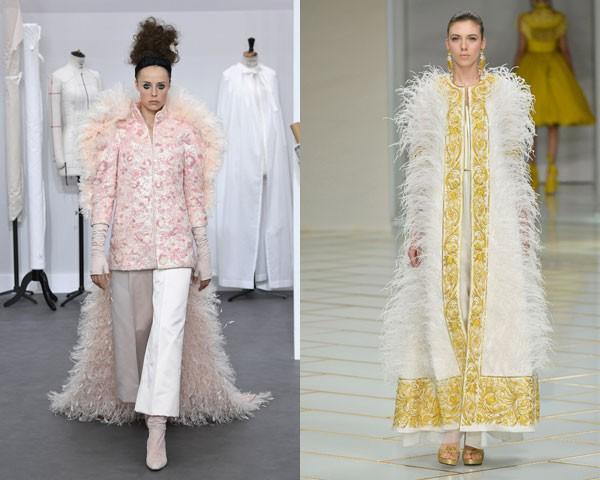 Os desfiles Chanel e Guo Pei apostaram nas capas mais extravagantes e felpudas (Foto: Getty Images)
