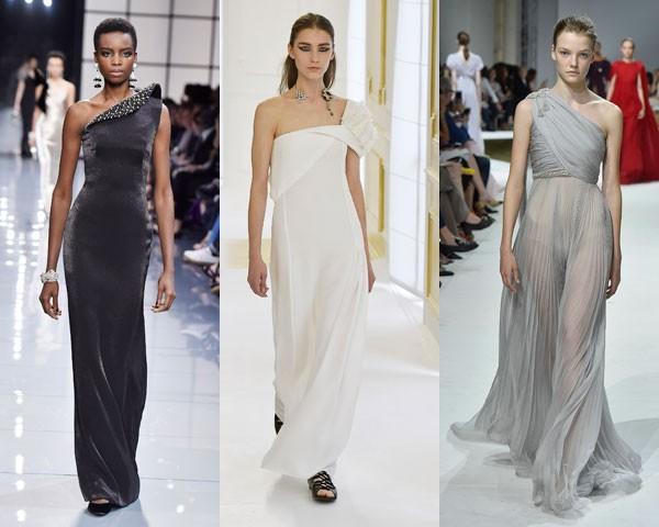 Ombro só: Giorgio Armani Privé, Dior e Giambattista Valli (Foto: Getty Images)