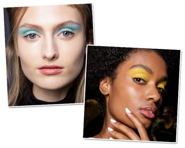 No desfile da Byblos, cores como azul e amarelo coloriram os olhos das modelos (Foto: Imaxtree)
