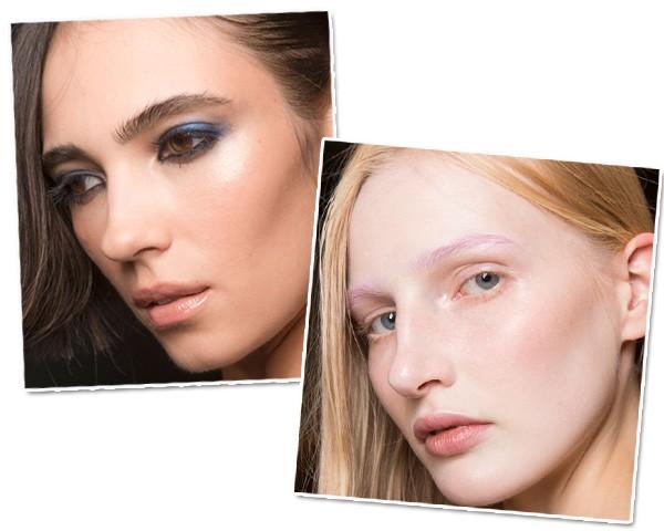 As sobrancelhas em tom pastel da Gucci e o esfumado em tons de azul da Giorgio Armani (Foto: Imaxtree)