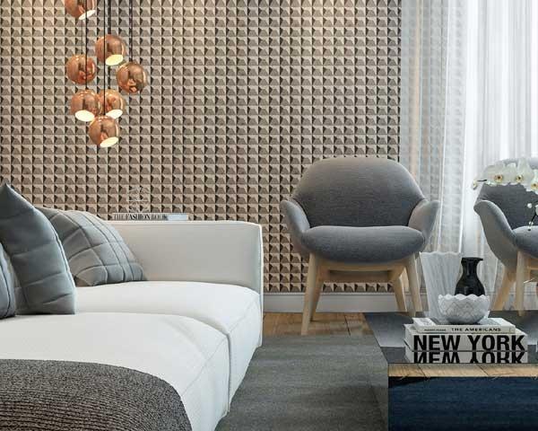 O tecido de parede deu um charme a mais à decoração (Foto: Janaina Matias Amadori)