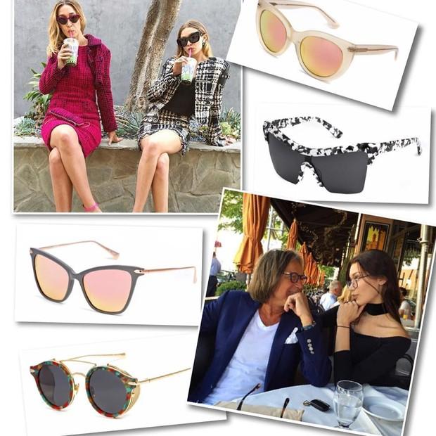 Alana Hadid, Gigi Hadid, Mohamed Hadid, Bella Hadid e óculos da marca Hadid Eyewear (Foto: Reprodução)