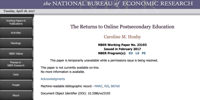 """Screen shot from April 18 of NBER page showing that the """"paper is temporarily unavailable while a permissions issue is being resolved""""."""