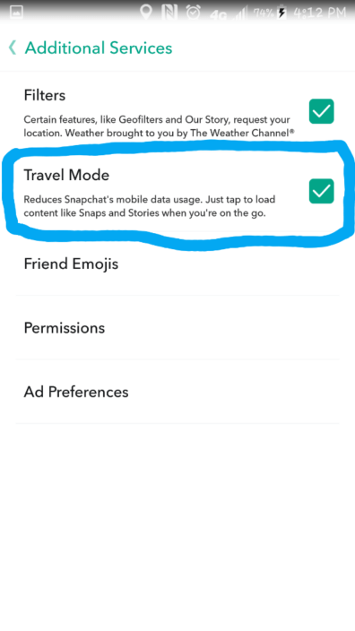 Change the Travel Mode to On by making sure it is checked