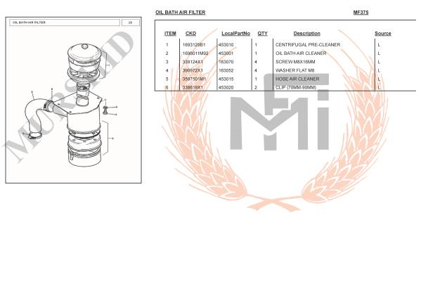 MF375 SPARE PARTS OIL BATH AIR FILTER