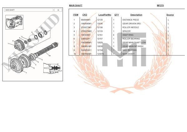 MF375 SPARE PARTS MAIN SHAFT