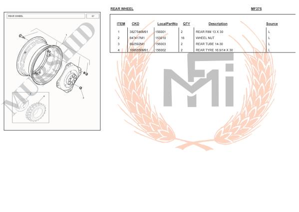 MF375 SPARE PARTS REAR WHEEL