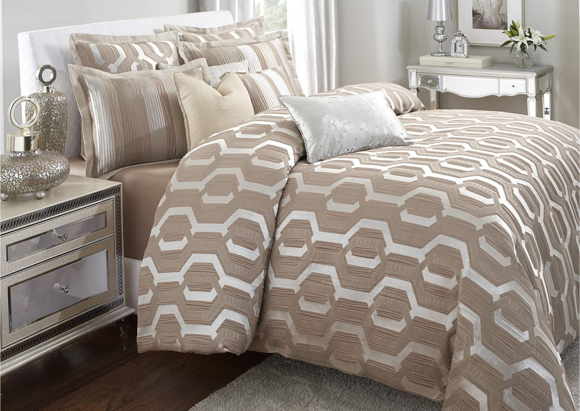 como taupe 9 pc queen comforter set