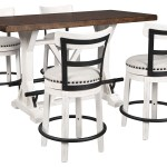 Valebeck Brown Counter Height Dining Table W 4 Backed White Barstools Curly S Furniture