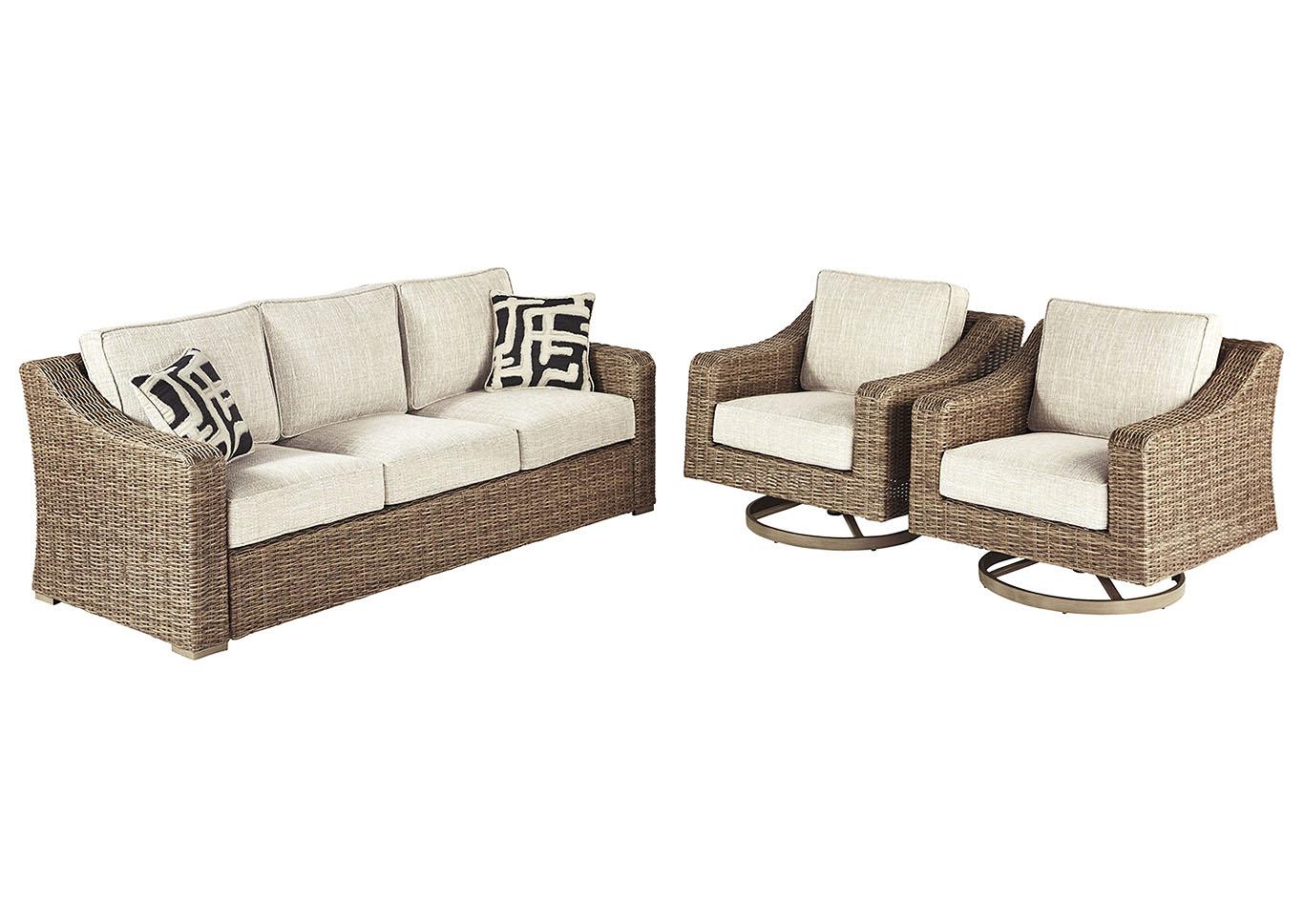 beachcroft beige sofa w 2 swivel chairs best buy furniture and mattress