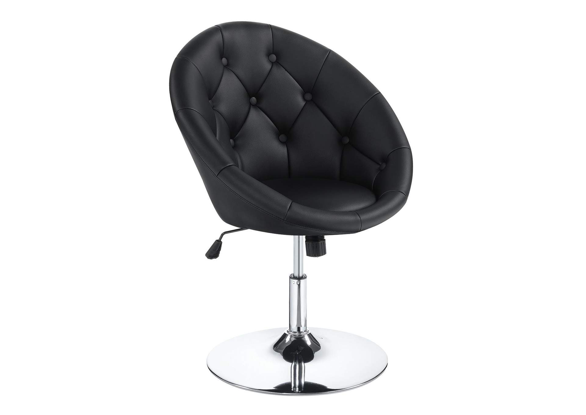 Chrome Contemporary Black Faux Leather Swivel Accent Chair 22 Furniture Gallery