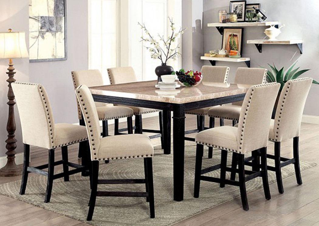 Dodson Ii Black Counter Table W 8 Chair Cohen S Furniture New Castle De
