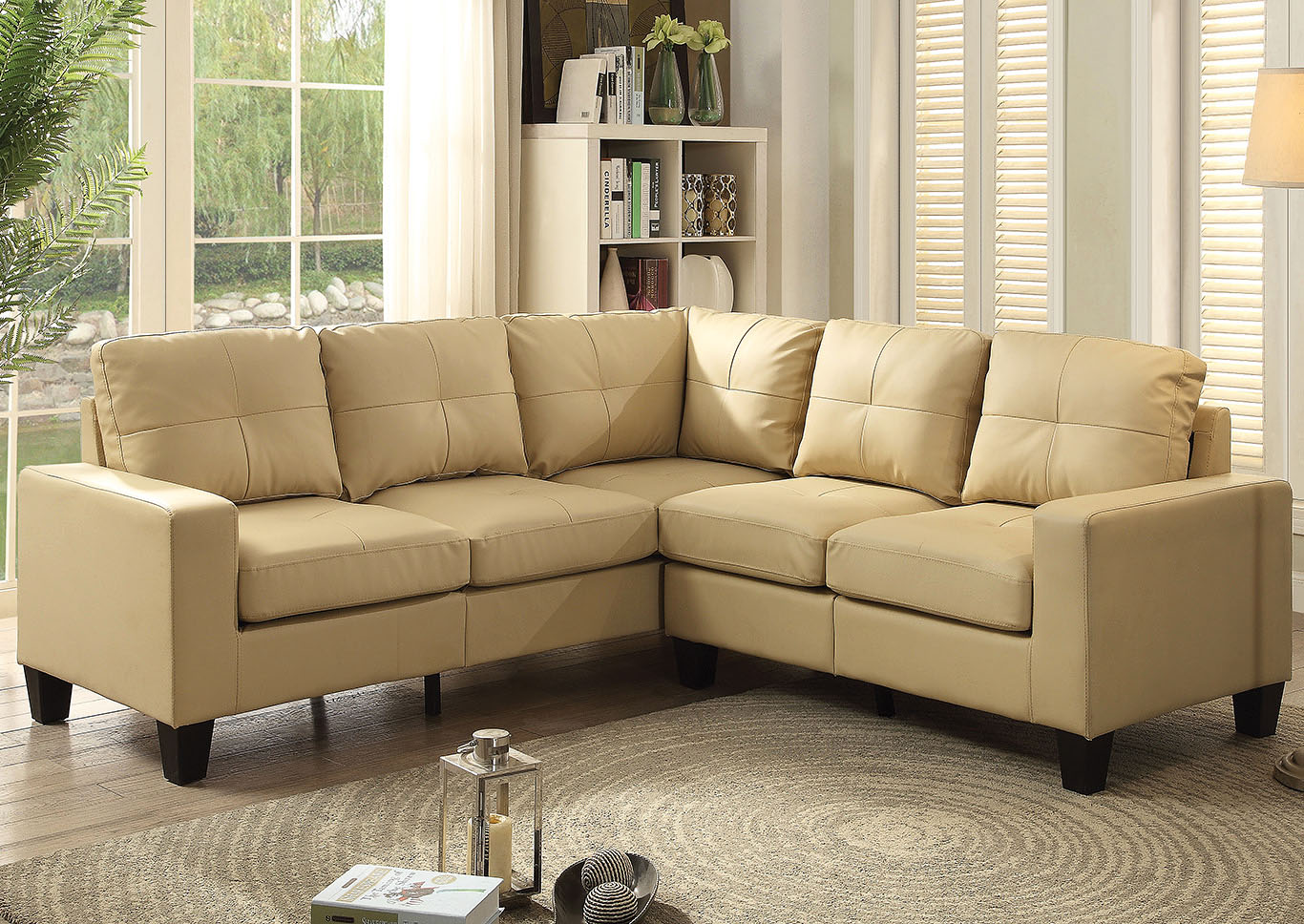 beige faux leather sectional american