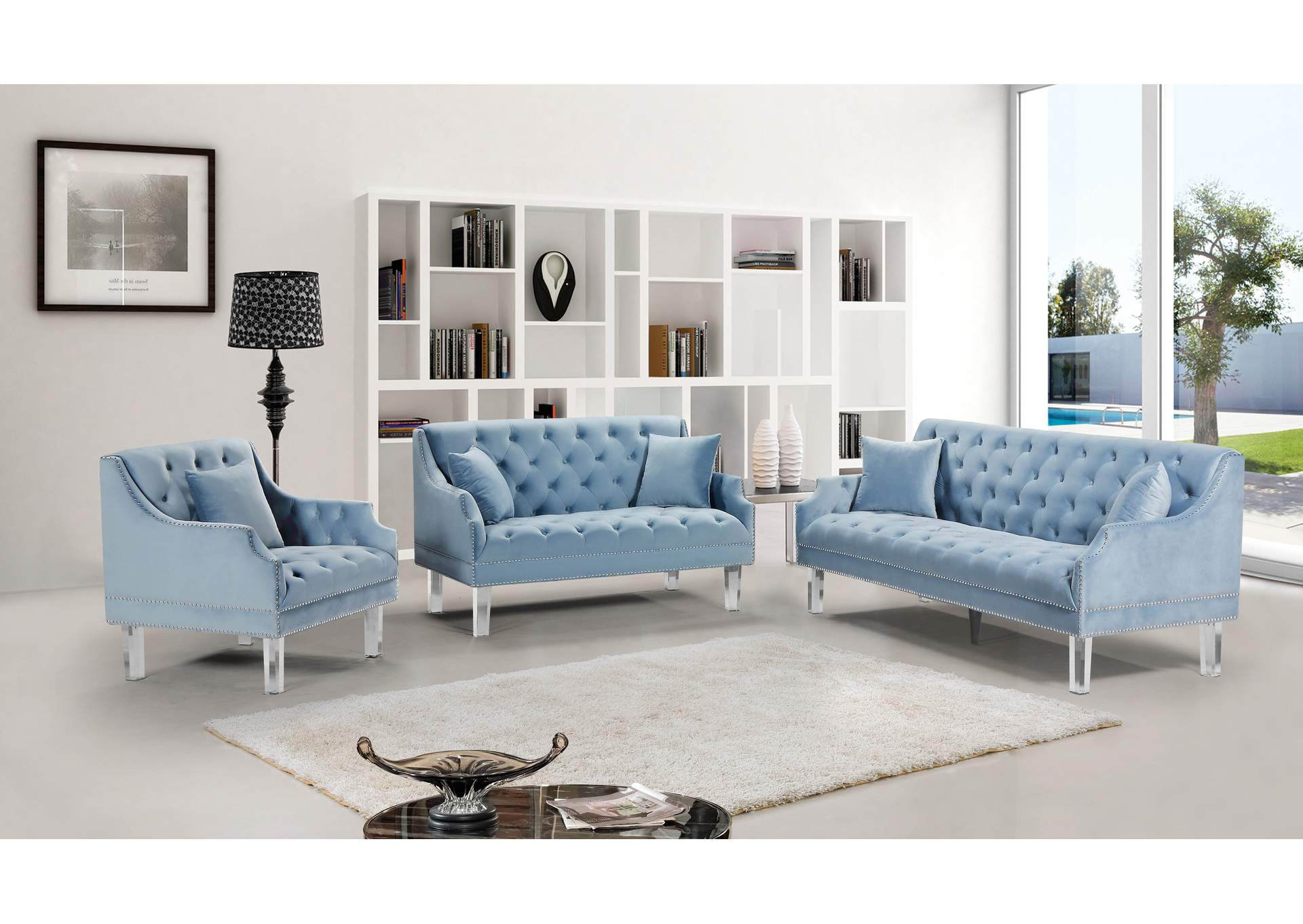 Roxy Sky Blue Velvet Sofa And Loveseat Best Buy Furniture And Mattress