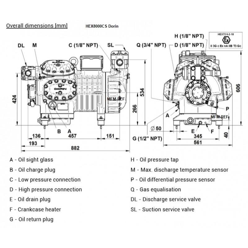 Dorin HEX8000CS 380-420/3/50 8 cylinder compressor