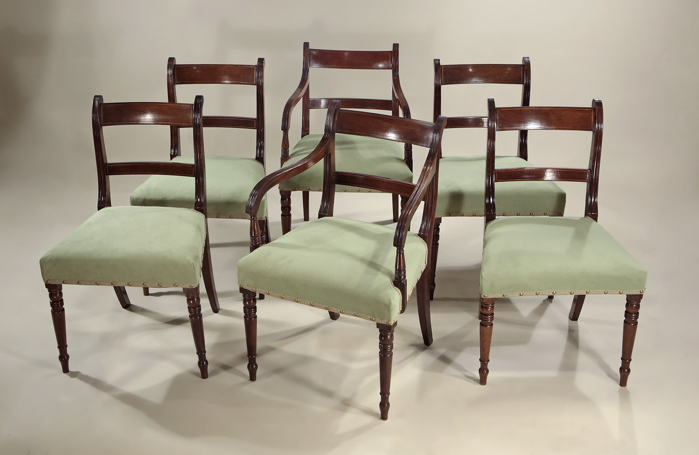 Dining Chair Set Of 6 Set Of 6 Late Georgian Inlaid Mahogany Dining Chairs England