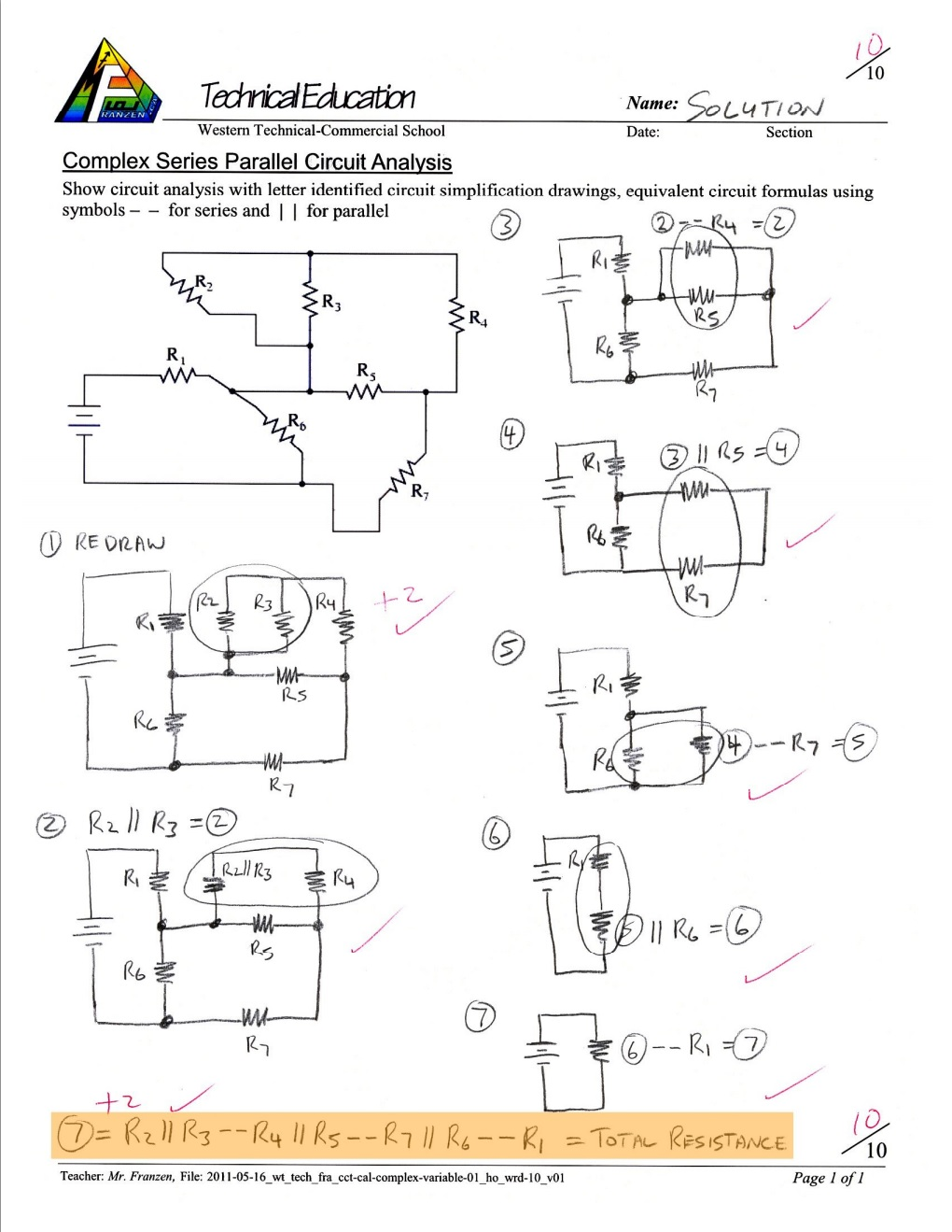 hight resolution of complex series parallel circuit analysis and calculations