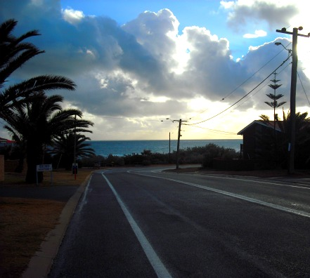 walking to the beach from our house
