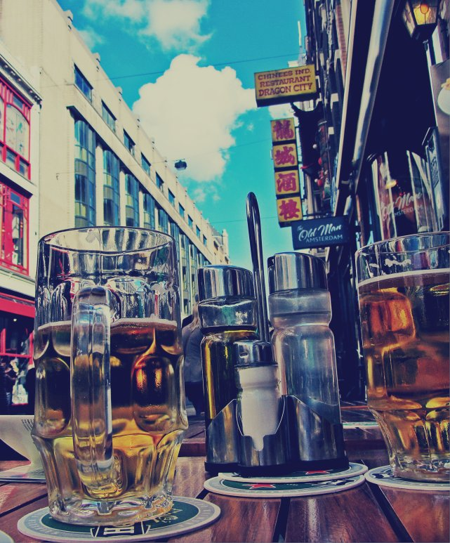 having a beer in amsterdam