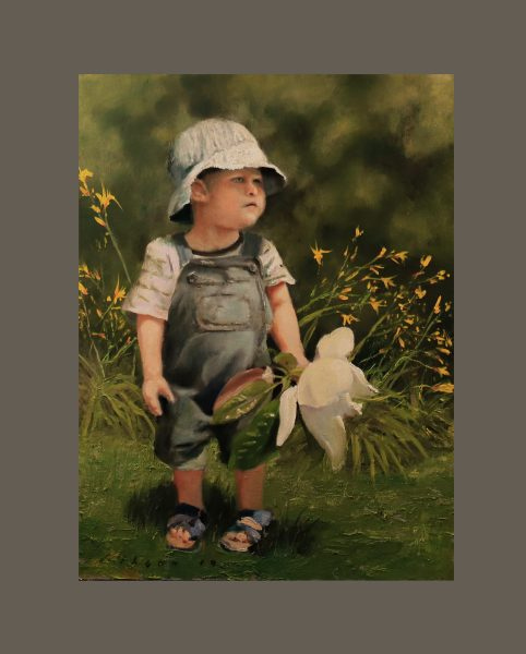 Grand Flora Lilies and Lad 24×18 oil on cradled canvas panel 2019