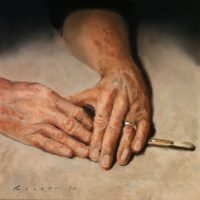 My Hands 12×12 oil on muslin on pw 2020