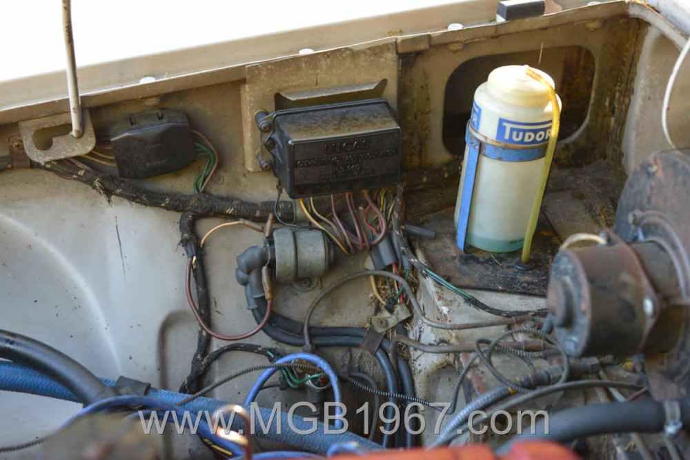 medium resolution of 1967 mgb gt engine compartment voltage stabilizer and starter solenoid