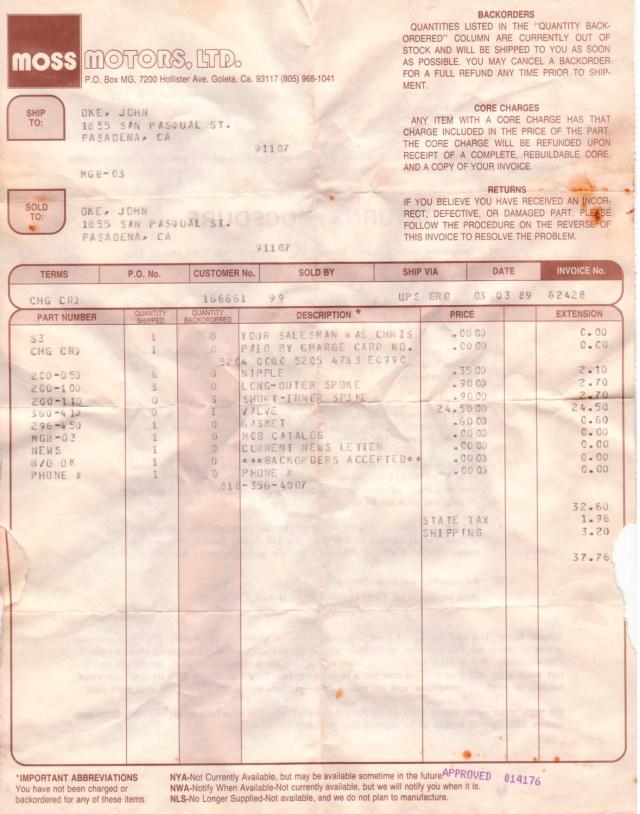 Extra wheel spokes cost $.90 each in 1989 from Moss Motors