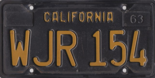 1967 MGB GT California front license plate
