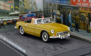"This is a very cool 1/43 diecast MGB roadster in Mustard Yellow as featured in the 1974 James Bond film ""The Man with the Golden Gun"" starring Roger Moore as 007."