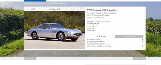 1965 Ferrari 500 Superfast sold for $1,980,000 in 2013