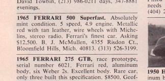 1965 Ferrari 500 Superfast ad in 1973 Road & Track