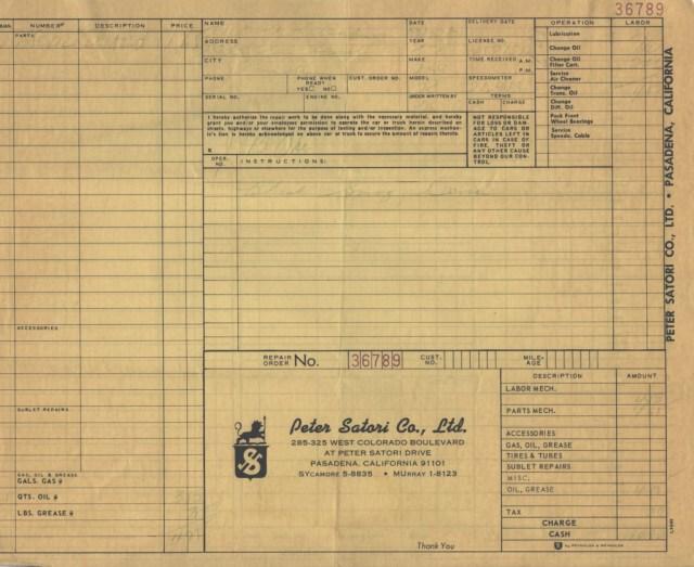 MGB GT 24,000 mile service at Peter Satori Company Ltd, Pasadena, California