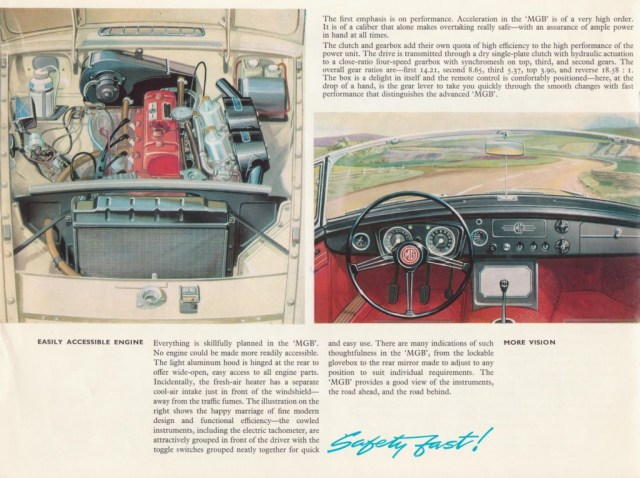 MG MGB Roadster brochure 1967 dash and engine