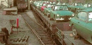 Loaded MG cars at Abington Station in the mid 1960's