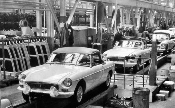 MG MGB assembly line in the 1960's