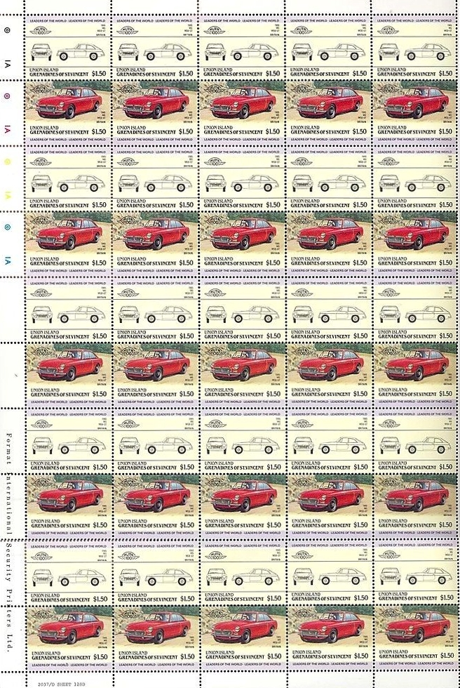 Union Island Grenadines of St. Vincent 1985 - MG MGB GT stamps