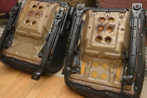 Runners painted and reinstalled on the Miata seats. They are now ready for adapter plates