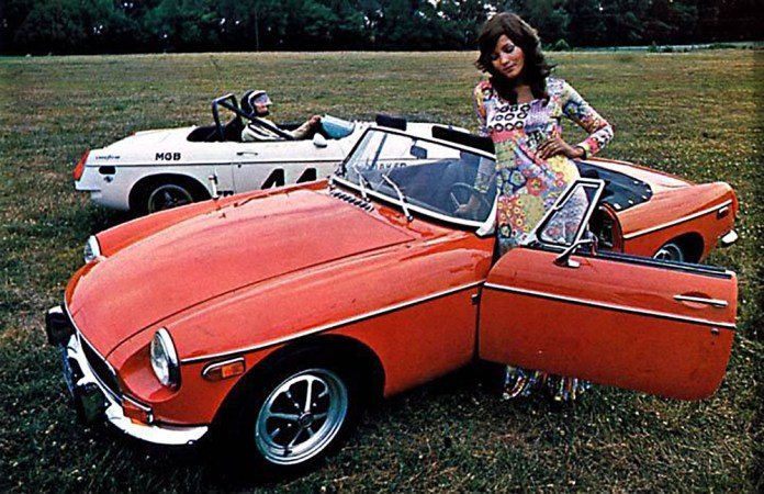 1971 MG MGB flower child with Group 44 racing MGB