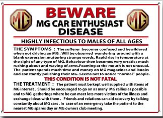 Beware MG Car Enthusiast Disease