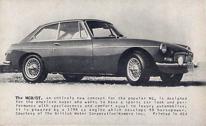 MG MGB GT promotional card