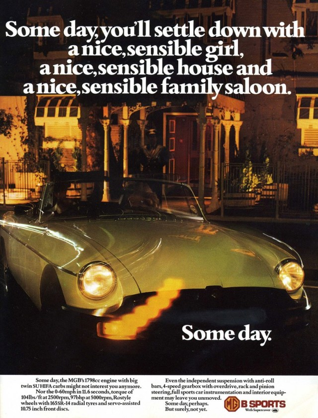Some Day MG MGB ad 1975