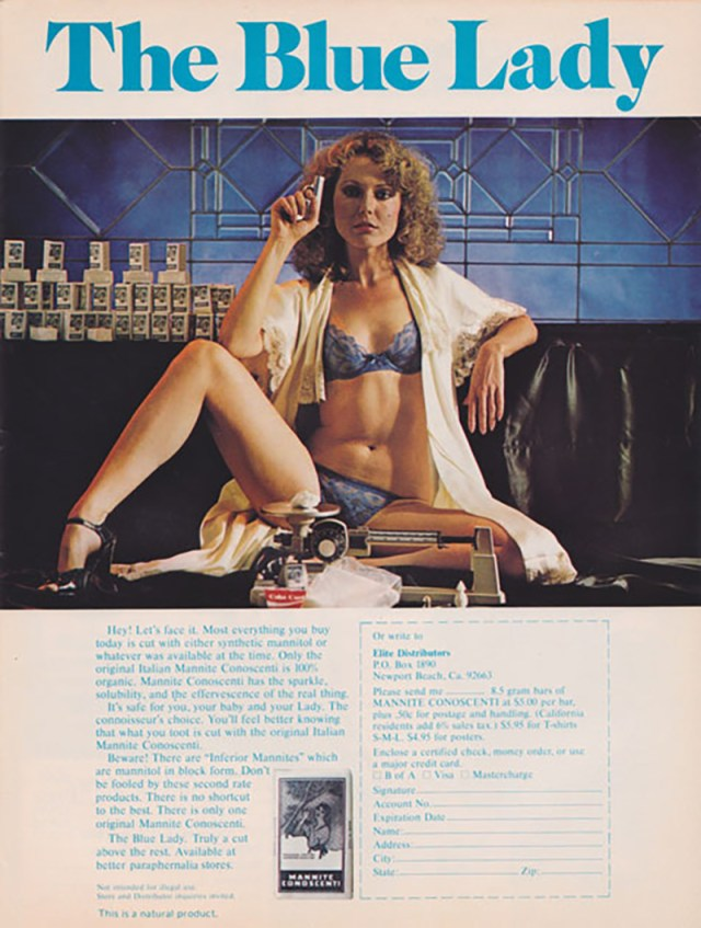 The Blue Lady - Sexy lingerie girl cocaine ad