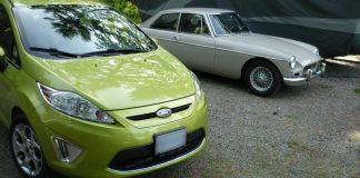 1967 MGB GT and 2012 Ford Fiesta