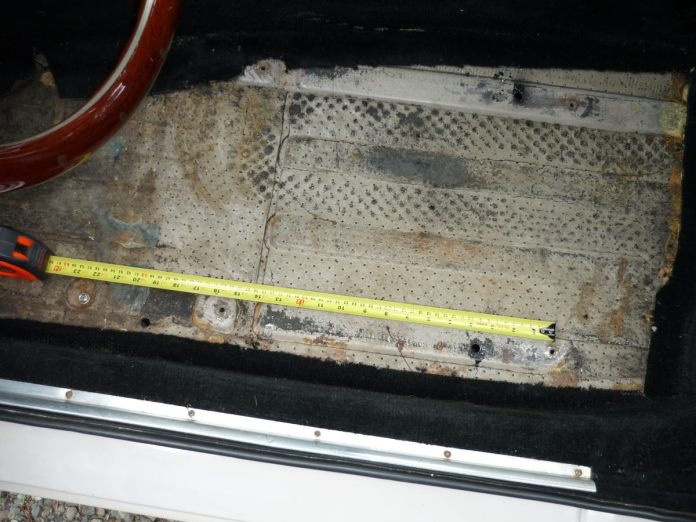 New holes for Mazda Miata seats in the 1967 MGB GT