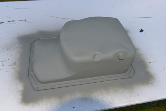 May as well paint the oil pan since it's off