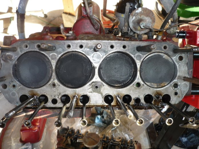 MGB pistons in block