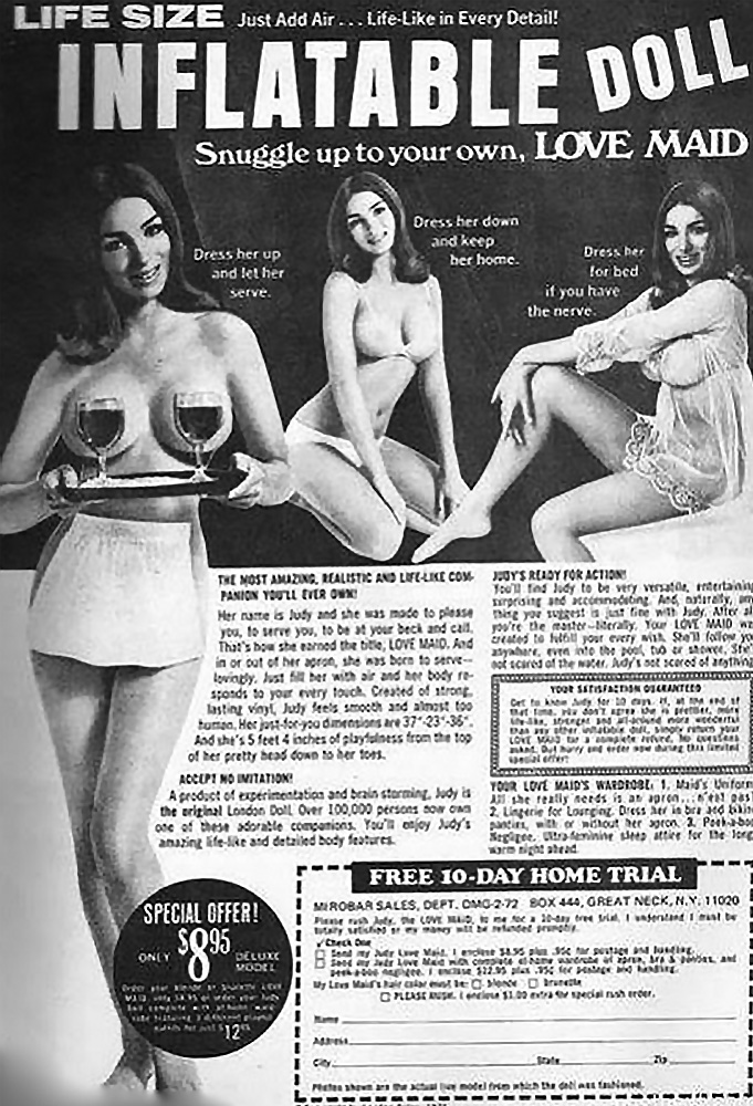 Inflatable doll vintage ad