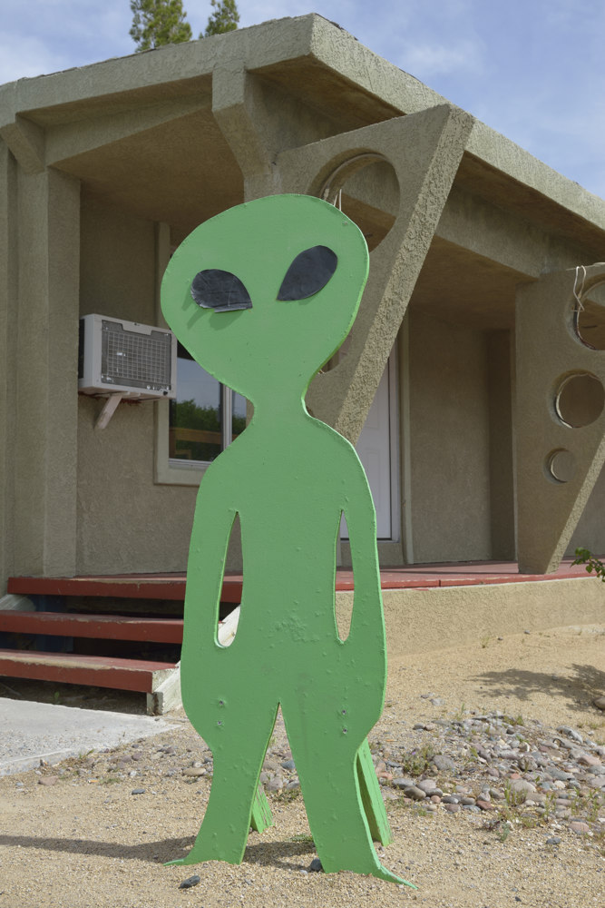 Green alien hanging out in Nevada