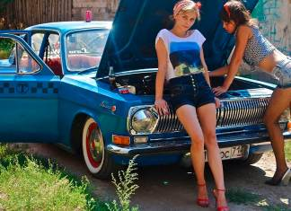 Russian sexy chicks with piece of shit Russian car